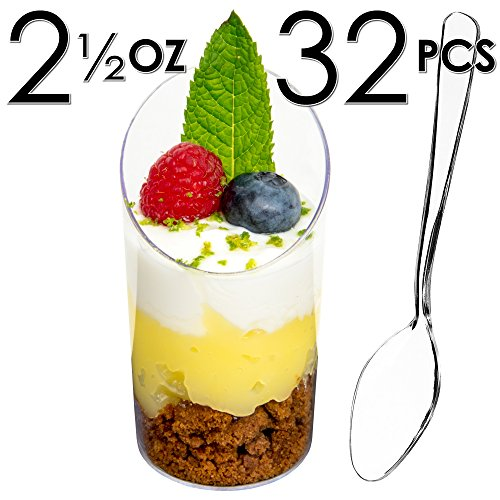 Cylinder Mini (DLux Mini Dessert Cups, Appetizer Bowls & Spoons & Recipe e-Book [Clear Plastic, 2.5 oz, Round Slanted, 32 Count] Small Catering Supplies, Disposable Parfait Glasses,Tasting Tumblers, Shooters)