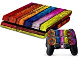 MODFREAKZ™ Console and Controller Vinyl Skin Set – Rainbow Colored Wood for Playstation 4 For Sale