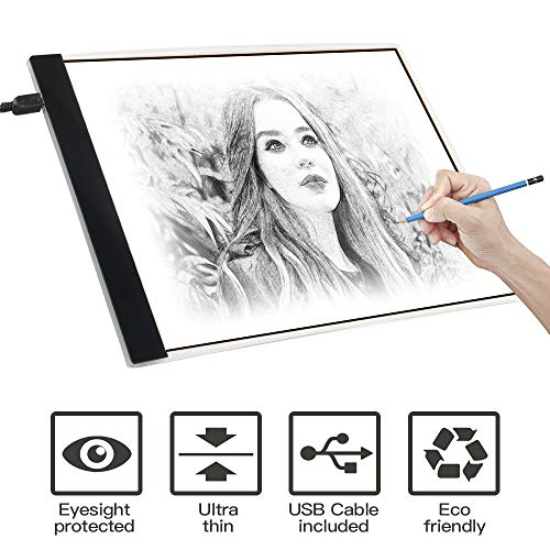Light Box, SAMTIAN A4 Light Box LED Copy Board Drawing Light Pad with USB Charger Cable, Art Craft Drawing Tracing Tattoo Board for Artists, Drawing, Animation, Sketching, Designing (LB-A4 LITE). (Best Neo Traditional Tattoo Artists)