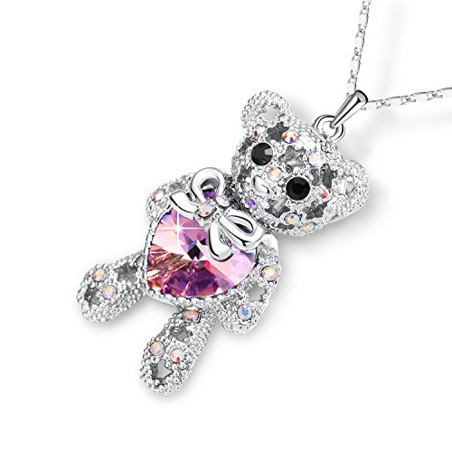 PLATO H Lovely Cute Animal Bear Pendant Neckalce Love Heart Bear Necklace Teddy Bear Charm Pendant Necklace With Swarovski Crystal, Purple - Crystal Charm Necklace Swarovski