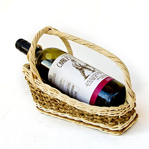 Natural Rattan wine bottle holder stand server Thai handmade -