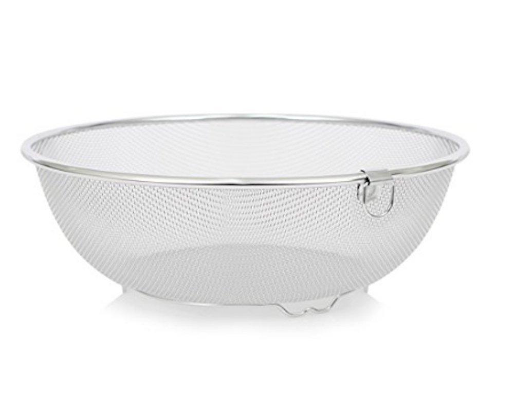 """Round Stainless Steel Fine Mesh Food Strainer Basket Vegetable Fruit Noodles Colander D 11.2"""" X H 3.9"""" Deep Hallow X-Large"""