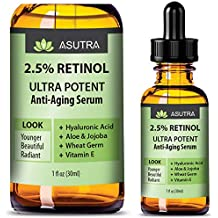Asutra, Anti-Aging Serum, 2.5% Retinol, Ultra Potent and Effective Skin-Enhancing, Hyaluronic Acid, Vitamin E, Wheat Germ, Aloe, and Jojoba, Two Bottle Value Pack, Two 1 Oz. Bottles
