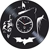 Batman Returns Arkham Gotham City Hero Vinyl Record Best Gift For Him Kovides Vinyl Wall Clock Home Decor, Decoration Living Room Inspirational Comics Marvel DC Movie, Silent Mechanism, Wall Sticker