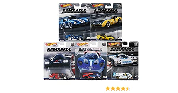 Amazon.com: 2018 Hot Wheels 50th Anniversary 1:64 Car Culture Circuit Legends Series Set of 5 Diecast Cars: Toys & Games