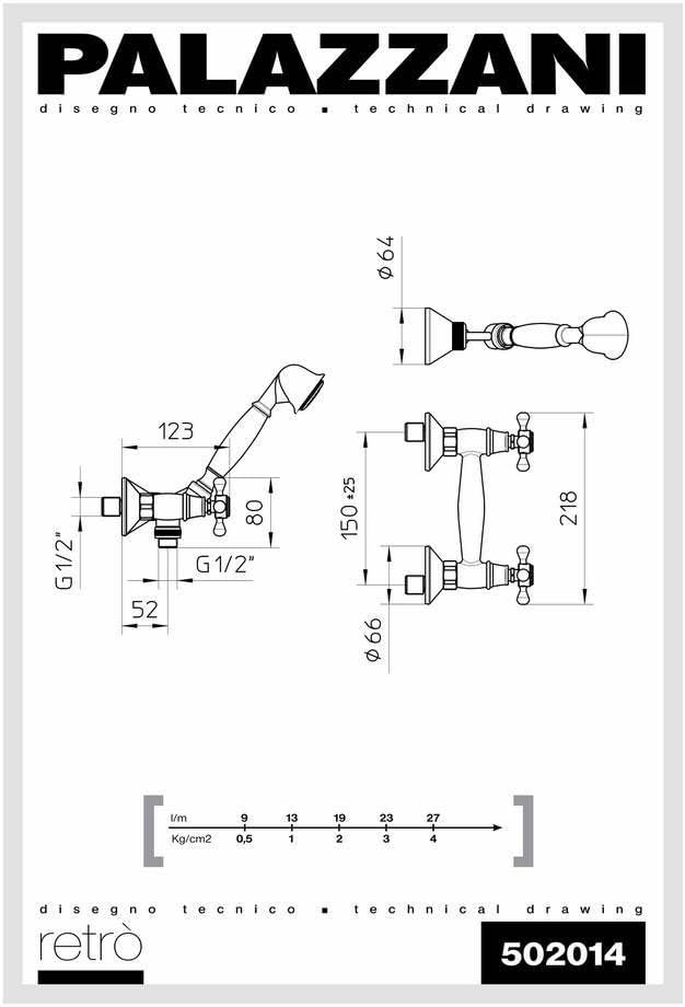 Palazzani Retro Rubinetto Esterno Doccia Cromo Completo Maniglia 4 Punte