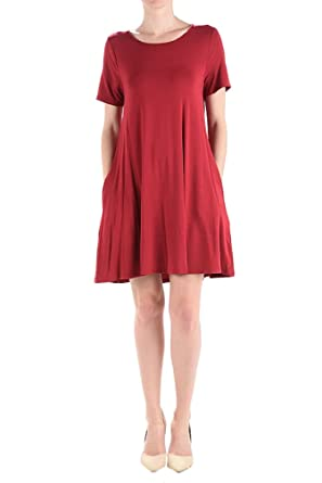47b16788f809 Short sleeve swing dress with pockets at Amazon Women's Clothing store: