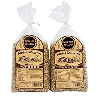 Amish Country Popcorn | 2 - 2 lb Bags | Yellow Popcorn Kernels | Old Fashioned with Recipe Guide
