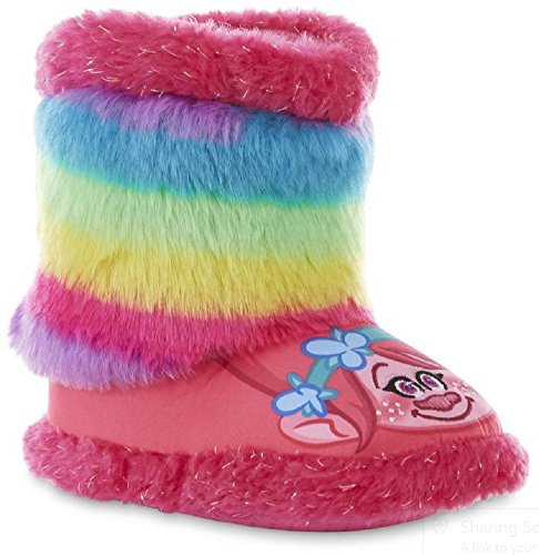 Trolls Pink Rainbow Calf  High Bootie Slipper Size 7/8