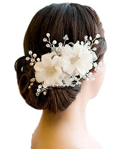 Freedi Womens Flower Hair Clip Beach Party Wedding Event Girls Corsage Brooch Hairpins Decor