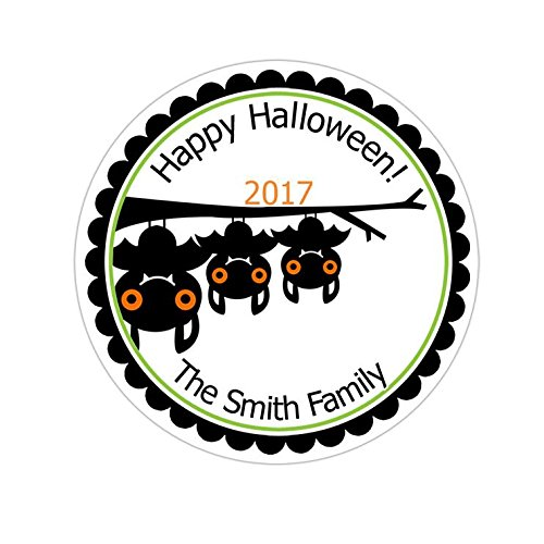 Personalized Customized Halloween Party Favor Thank You Stickers - Bat Family - Round Labels - Choose Your Size]()