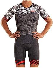 Zoot Mannen Triathlon Racesuit Style Tokyo 2019 met mouwen, reflecterende elementen, SPF 50+, twee achterzakken en 23cm Front Rits Maat