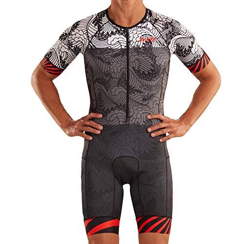 Zoot Mannen Triathlon Racesuit Style Tokyo 2019 met mouwen, reflecterende elementen, SPF 50+, twee achterzakken en 23cm…