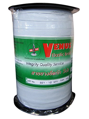 Venus Elastic White Band Tape Braid 12 Cord 144 Yard length Factory Strength roll (144 Yard Roll)