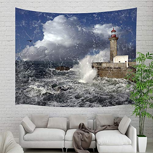 NYMB Nautical Lighthouse Seascape Scenery Wallpaper Tapestry Wall Hanging, Rustic Lighthouse in Stormy Waves Wall Tapestry Art for Home Dorm Decor Living Room Bedroom Bedspread, Wall Blanket, 60X40in
