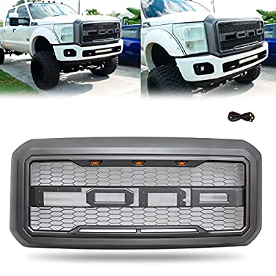 Modifying Front Grille for 2011-2016 F250 Ford F-250 F-350 F-450 F-550 Raptor Style Grill with 3 LED Amber Lights and Replaceable Letters - Grey: Automotive