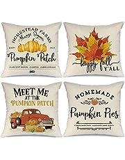 Uniquk Fall Pillow Covers Maple Leaves Farmhouse Throw Pillows for Fall Thanksgiving DeCor Autumn Decorations Cushion Cases