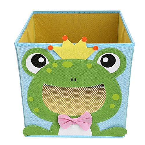 NEWSTYLE Foldable Kids Toy Storage Bin Box - Cartoon Children Toys Chest and Closet Organizer - Smiling Frog