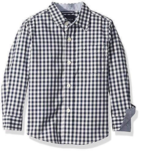 Nautica Boys' Big Long Sleeve Gingham Woven Shirt, Allan Navy Stretch, Large (14/16)
