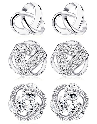 Udalyn 3 Pairs Love Knot Earrings Set Stainless Steel CZ Stud Earrings for Women Girls Silver Tone