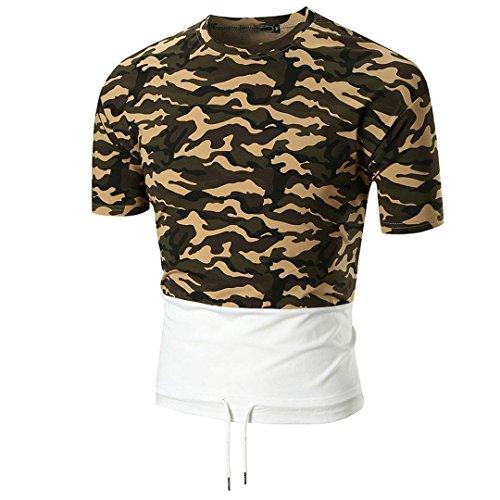 Bluestercool T-shirt Hommes Décontractée Camouflage Manches Courtes Col Rond Top Armée verte