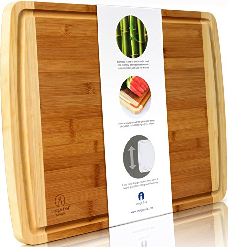 "Kitchen Cart Round Butcher Block (Bamboo Cutting Board EXTRA LARGE - WIDE & THICK | Approx. 18""x14"" 