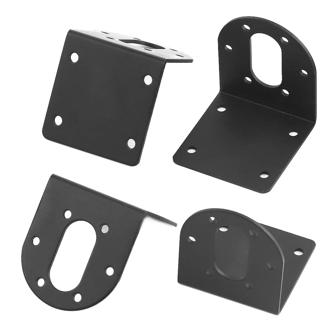 Rustark 4 Pcs 37mm Diameter DC Gear Motors Mounting Bracket Black Rust Resistance Gearbox Fixed Seat Gear Reduction Motor Holder with 4 Pcs 6mm Hex Coupling for Small Stepper Motors