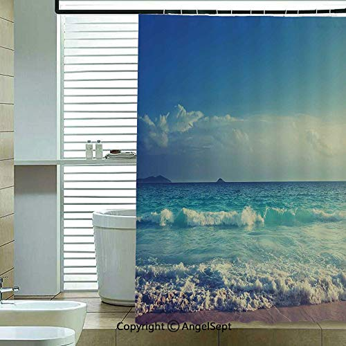 - Fabric Shower Curtain,Tropical-Island-Paradise-Beach-at-Sunset-Time-with-Waves-and-The-Misty-Sea-Image-Decorative,70.8x72 inch,Hotel Quality,Machine Washable,Cream-Turquoise
