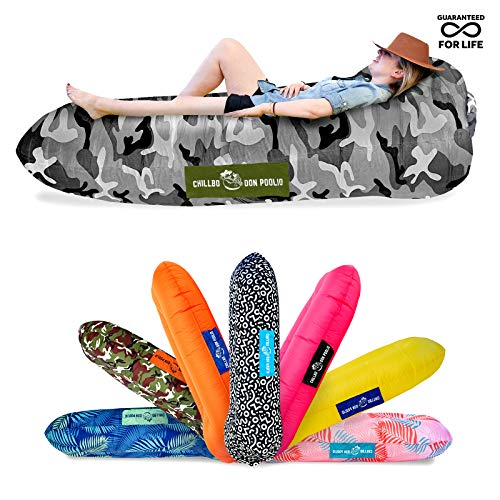Chillbo Don POOLIO Pool Floats for Adults - Cool Patterns, Inflatable Sofa & Kids Hammock - Best Camping Gear for River Floats Hammock Chair & Raft for Beach (Chromatic Rainbow Swizzle)