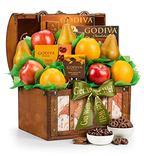 GiftTree Get Well Fresh Fruit & Godiva Chocolates Gift Basket   Includes Gourmet Chocolates and Confections from Godiva   Fresh Pears, Crisp Apples, Juicy Oranges in a Keepsake Container