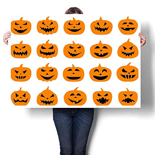 Anyangeight Abstract Painting Halloween Pumpkin Faces Set on