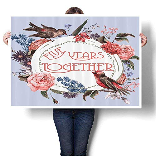 Canvas Wall Art iversary GITS for Couple Him Five Years Together Lovely  Home Bathroomatis Rose Art Stickers,20
