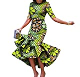 Women's Short Sleeve Batik Mermaid Dashiki Africa Simple Long Dress Green XL