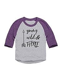 Trunk Candy Young, Wild & Three Toddler 3/4 Sleeve Raglan Baseball T-Shirt