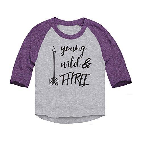 Trunk Candy Young, Wild & Three Toddler 3/4 Sleeve Raglan Baseball T-Shirt (Heather/Purple, 2T)