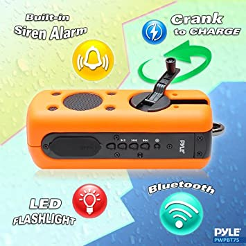 Sound Box Splash Sports Portable Speaker – Wireless Rugged Waterproof Bluetooth Compatible audio Stereo with AUX In Jack, Rechargeable Battery – iPhone Android iPad, MP3 – PyleSport PWPBT75OR Orange