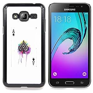- ace spades poker game white black card - - Modelo de la piel protectora de la cubierta del caso FOR Samsung Galaxy J3 RetroCandy