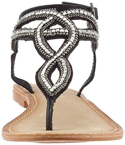 Vero Moda Vmsis Leather Sandal, de Tiras para Mujer Negro (Black)