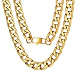 ChainsPro Men 4/6/9/13mm Cuban Link Chain,Hip Hop Jewelry,316L Stainless Steel/18K Gold Plated/Black-(with Gift Box)