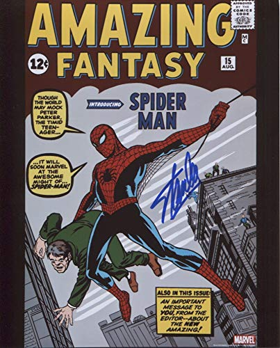 Stan Lee Amazing Fantasy 15 First Spiderman Signed/Autographed 8x10 Glossy Photo. Includes Fanexpo Certificate of Authenticity and Proof of signing. Entertainment Autograph Original. from Star League Sports