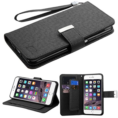 MyBat D'Lux My Jacket Wallet with Button Closure for Apple iPhone 6 Plus - Retail Packaging - Black