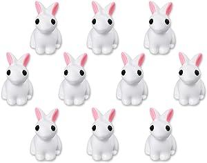 DS. DISTINCTIVE STYLE Miniature Rabbits Set of 10 Bonsai Rabbits Decor Rabbit Figurines for Fairy Garden, Easter Decor