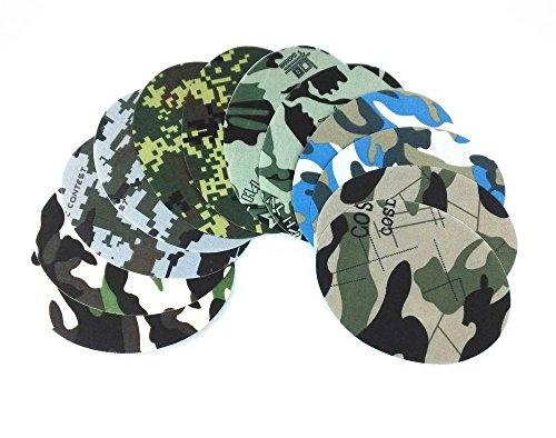 Honbay 12pcs 6 Camouflage Pattern Ellipse Iron on Cotton Patches Repair ()