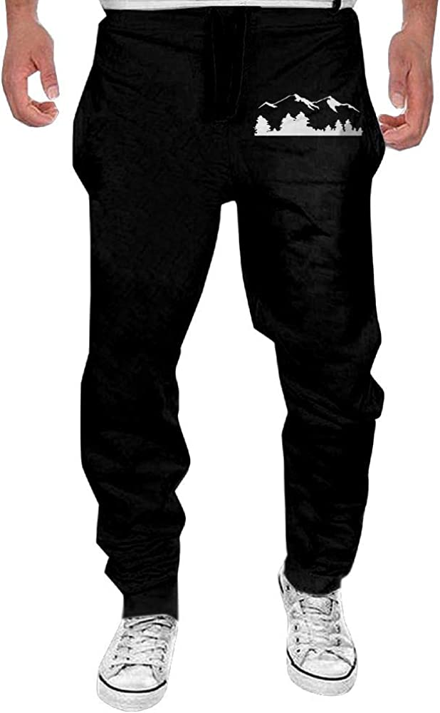 Mens Mountains Silhouette Casual Cotton Jogger SweatpantsRunning Beam Trousers
