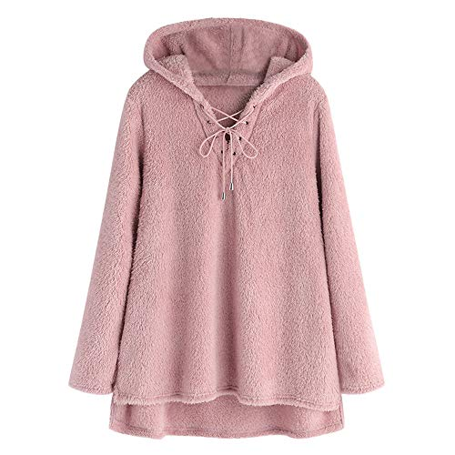 HHei_K Womens Solid Flannel Hooded Sweatshirt Cross Bandage Loose Long Sleeve High and Low Hemline Pullover Blouse Pink