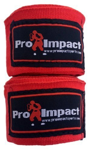 "PRO IMPACT Boxing/MMA Handwraps one hundred eighty"" Mexican Style Elastic RED – DiZiSports Store"
