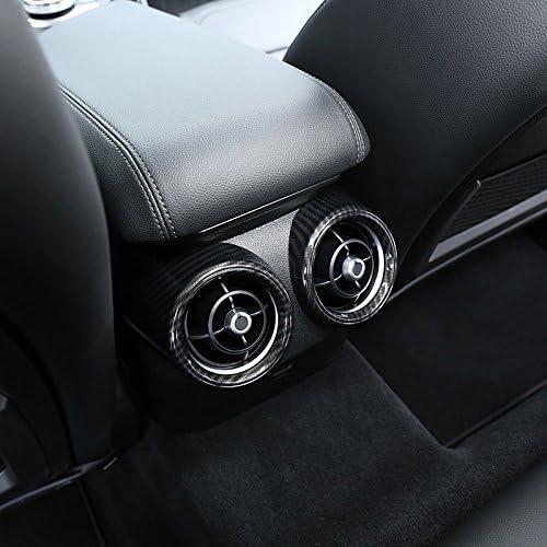 CUHAWUDBA 2 Pcs Style De Fibre De Carbone pour Alfa Romeo Giulia 2017 2018 Abs en Plastique Arri/ère Rang/ée Climatisation Vent Couverture Cadre Garniture De Voiture Pi/èces