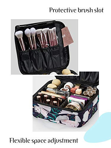 Joligrace Makeup Travel Bag Organizer for Women Cute Cosmetic Storage Train Case Portable Big Large Capacity with Adjustable Dividers for Make-Up Brush Toiletry Jewelry Rose Print