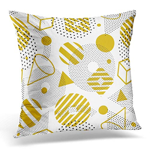 lilong Throw Pillow Cover Black Math Memphis Abstract Pattern 80 90S Used in and Design White Plus Decorative Pillow Case Home Decor Square 18