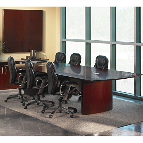 Mayline Modern Desk - Mayline Napoli Curved End Conference Table in Mahogany-6' Conference Table - 6' Conference Table